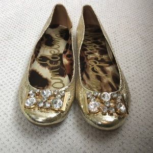Sam Edelman Gold Metallic Ballet Flats 8 Shoes